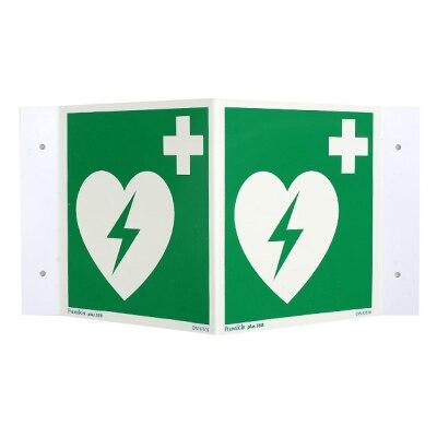 Defib Defibrillator AED rechtwinkliges Nasenschild