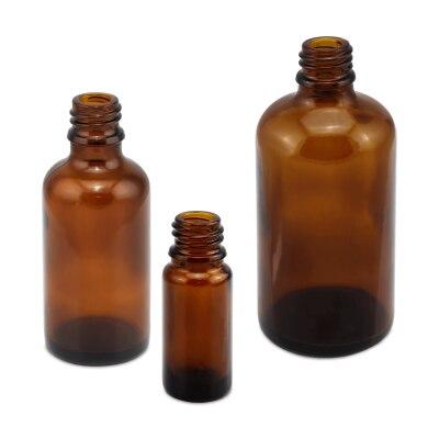 Tropfflasche mit Gewinde, Braunglas, ohne Verschluss