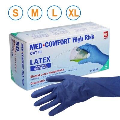 Ampri Latex Chemikalienhandschuhe, puderfrei, 50 Stück