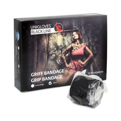 Unigloves Griff Bandage in Schwarz, 5 cm x 4,5 m, 12 Stück