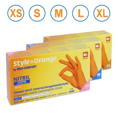 Ampri Nitril-Untersuchungshandschuhe Style Orange, puderfrei, 100 Stück